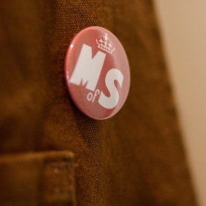 Ministry of Stories lapel pin (photo: Alistair Hall)
