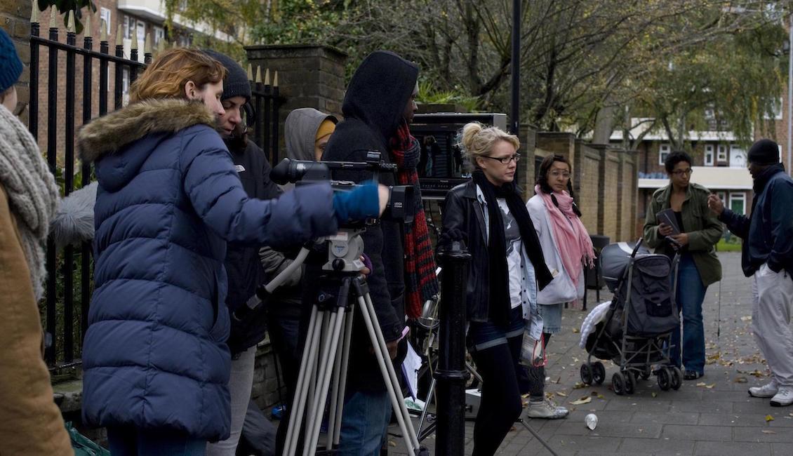 Directors review footage on set (photo: Miriam Douglas)