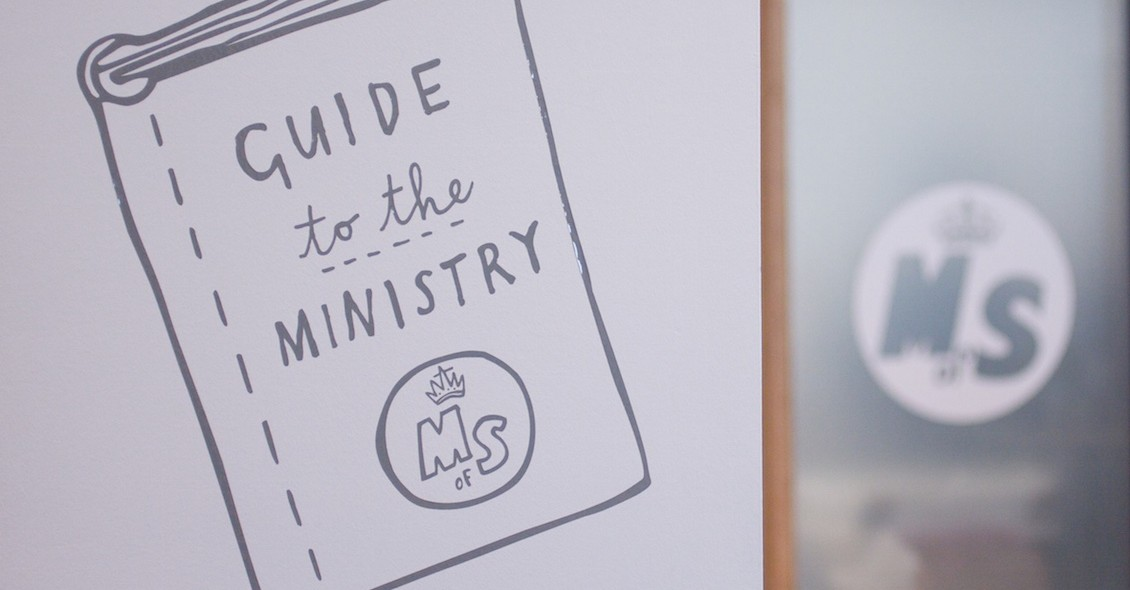 'Guide to the Ministry' illustration on wall (Illustrator, volunteer writing, chair of the board, experience of volunteering)