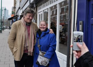 Stephen Fry with a fan outside Hoxton Street Monster Supplies (photo: Yemisi Blake) - MoS in the News